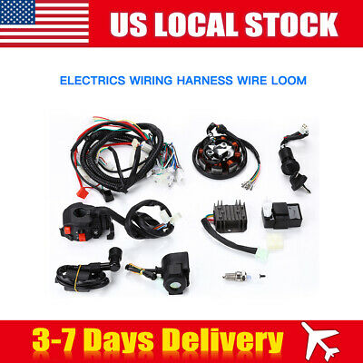 electrics wiring harness wire loom for atv quad bike motorcycle stator cdi  coil