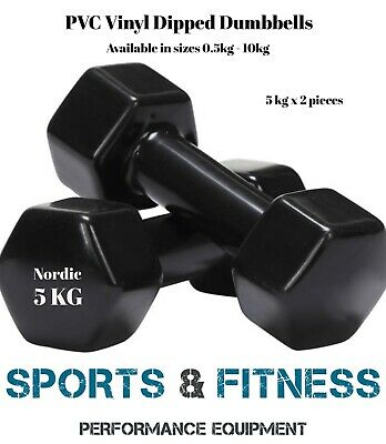 BLACK 5kg pair  Anti-Slip Dumbbell Weight Home Gym Fitness Exercise Workout Set