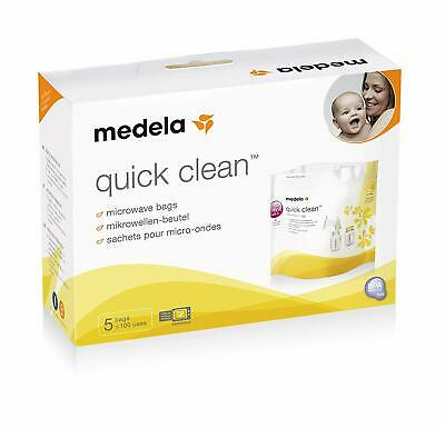 Medela Quick Clean Microwave Bags Reusable Disinfect Breastpump Bottles 5 Count