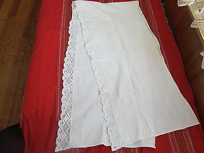 Old Primitive Antiques Hand Wooven Big Homespun Towel With Lace