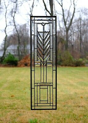 """10"""" x 36"""" Stunning Handcrafted stained glass Clear Beveled window panel"""