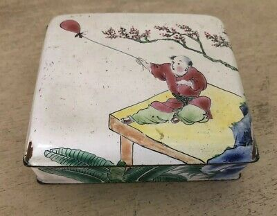 Antique Vintage Asian Hand Painted Man & Balloon Enamel Trinket Box Chinese