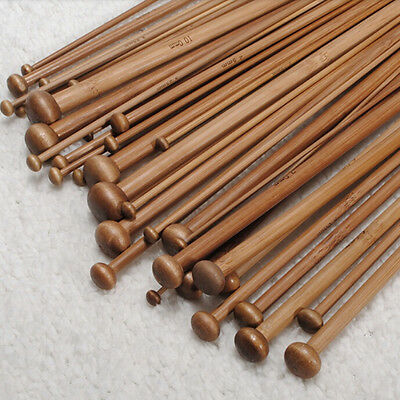 High Quality Set 36pcs Single Pointed Bamboo Knitting Needles Case 2mm - 10mm FB