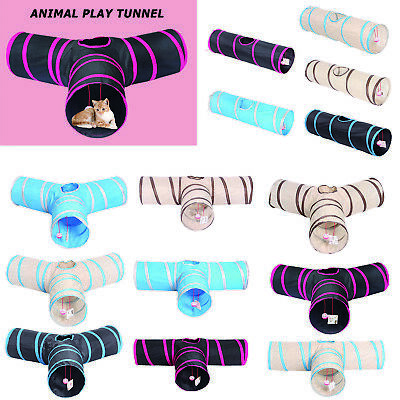 Folding Pet Cat Tunnel Kitten Outdoor Indoor Interactive Training Funny Play #