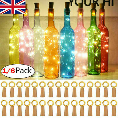 3-6pcs Fairy Cork Lights String Bottle Stopper For Wedding Party Events 2M 20LED