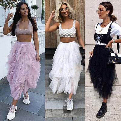 AU Women Tulle Mesh Tutu Skirt Elastic High Waist Layers Pleated Maxi Long Dress