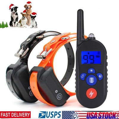 330 Yards Remote Dog Shock Collar Rechargeable Waterproof Anti Bark Pet Trainer