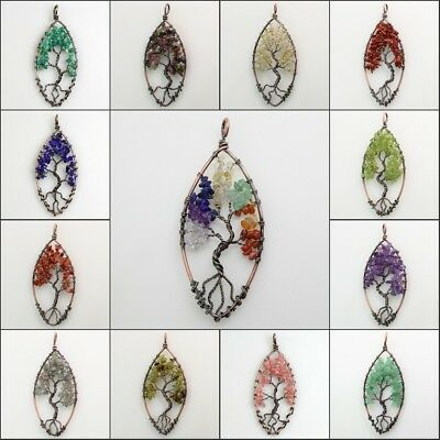 Natural Amethyst Peridot Crystal Chips Tree of Life Copper Olivary Pendant 3""