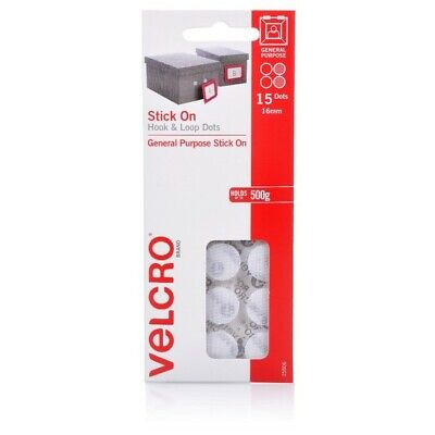 VELCRO BRAND-STICK ON MINI DOTS HOOK AND LOOP PACK 15 DOTS BLACKorWHITE 16MM