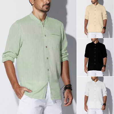 Mens Linen Long Sleeve Summer Solid Shirts Casual Loose Dress Soft Tops Tee UK
