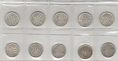10 x Different Threepences. No Junk. See Scans. 50% Silver. Free Post Aust Only