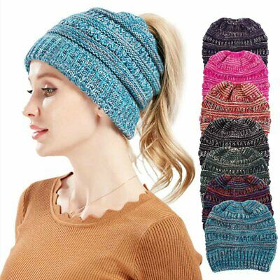 Fashion Wool Knitted Beanies Winter Warm Ponytail Hat Knitting Women Head Cap 3w