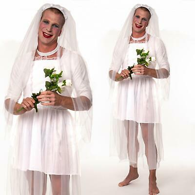 Mens Bride Wedding Stag Do Party Costume Adult Male Funny White Fancy Dress