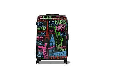 New Black Lightweight Cities Printed Luggage Travel Hard Case Suitcase