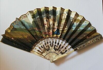 Beautiful Antique French Hand Fan C.1830 Hand Painted