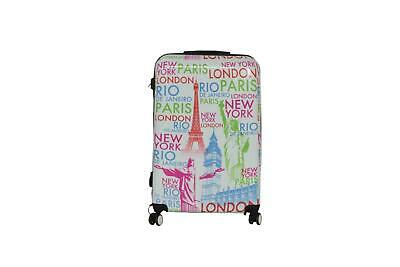 New White Lightweight Cities Printed Luggage Travel Hard Case Suitcase