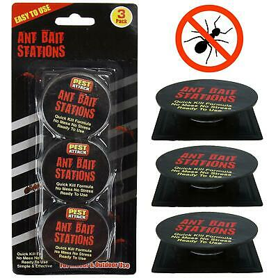 3 Pack Ant Killer Bait Station Trap Home Defence Insect Pesticide Destroys Nest