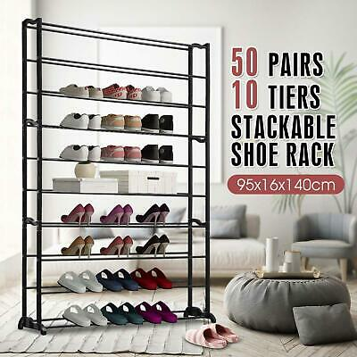 New 50 Pairs 10 Tiers Metal Shoes Storage Shoe Rack Stackable Sturdy Organizer