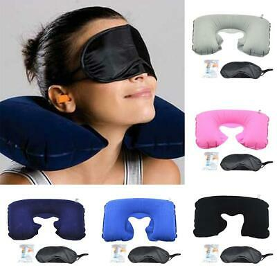 Portable Practical Solid U Shape Inflatable Pillow Eye Mask Earplugs OK