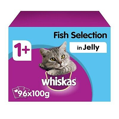 96 x 100g Whiskas 1+ Adult Wet Cat Food Pouches Mixed Fish in Jelly