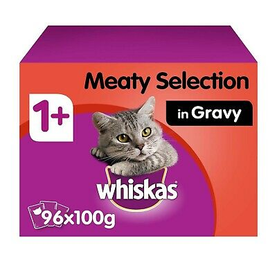 96 x 100g Whiskas 1+ Adult Wet Cat Food Pouches Mixed Meaty in Gravy