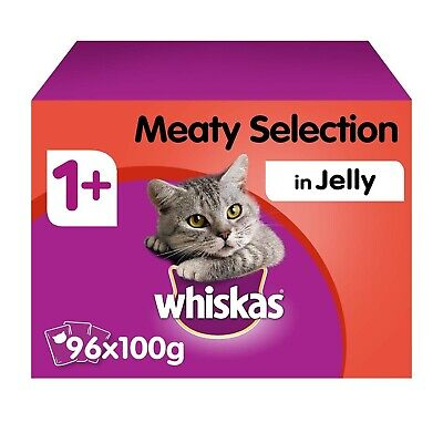 96 x 100g Whiskas 1+ Adult Wet Cat Food Pouches Mixed Meaty in Jelly