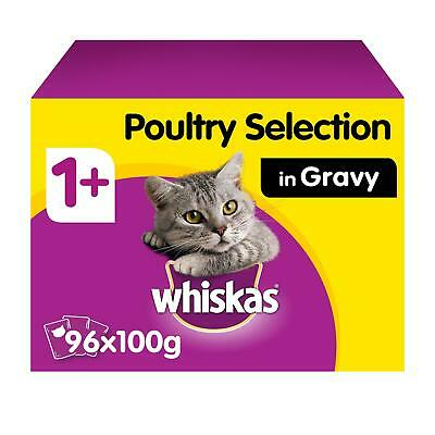 96 x 100g Whiskas 1+ Adult Wet Cat Food Pouches Mixed Poultry in Gravy