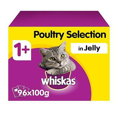 96 x 100g Whiskas 1+ Adult Wet Cat Food Pouches Mixed Poultry in Jelly