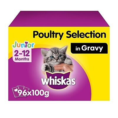 96 x 100g Whiskas 2-12 Months Kitten Cat Food Pouches Mixed Poultry in Gravy