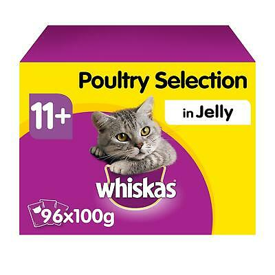 96 x 100g Whiskas 11+ Senior Wet Cat Food Pouches Mixed Poultry in Jelly