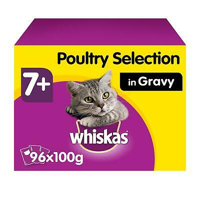 96 x 100g Whiskas 7+ Senior Wet Cat Food Pouches Mixed Poultry in Gravy