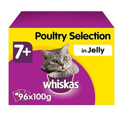 96 x 100g Whiskas 7+ Senior Wet Cat Food Pouches Mixed Poultry in Jelly