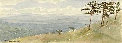 Emily Bruce, View from Martinsell Hill, Wiltshire - 1886 watercolour painting