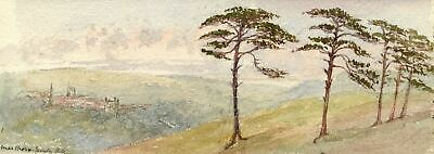 Emily Bruce, Marlborough Skyline from Manton Hill - 1886 watercolour painting