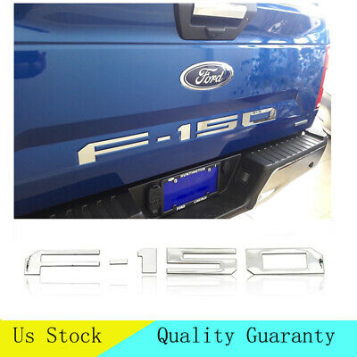 Chrome Mirror Letters Inserts For Ford F-150 2018 2019 Tailgate ABS Plastic