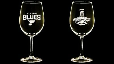 St louis blues wine glasses, (set of 2) 12 oz, Stanley cup champions, etched.