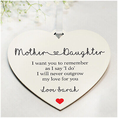 Personalised Wedding Gifts for Mother Of The Bride Wooden Heart Plaque Keepsakes