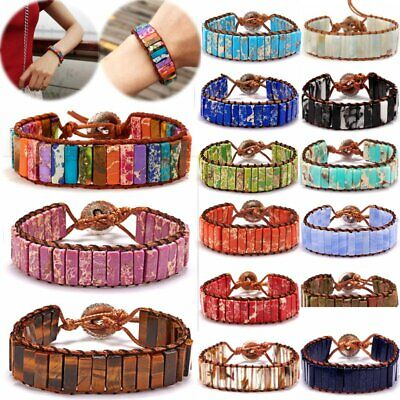 Handmade 7 Chakra Leather Bracelet Natural Stone Tube Beaded Wrap Bangle Vintage