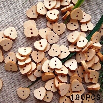 Fashion Natural Sewing Buttons Craft 100pcs/lot Heart Shaped Wooden Buttons 2 Ho
