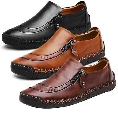Men Slip On Leather Zip Up Formal Dress Driving Loafers Moccasins Flat Shoes