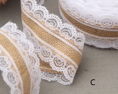 10m Natural Jute Burlap Hessian Lace Ribbon Roll+White Lace Vintage Wedding