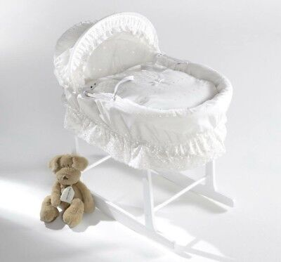 White Wicker Double Border Designer Baby moses basket U.K. Made Isabellaalicia