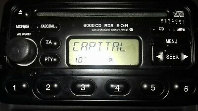 Car Radio Ford 6000Cd Rds Cd Player With Code  Fiesta Mondeo Transit Puma Focus