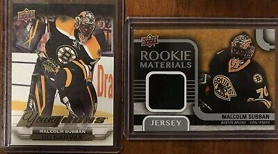 15-16 UD Young Guns Canvas Malcolm Subban + Rookie Materials LOT RC YG ROOKIE SP