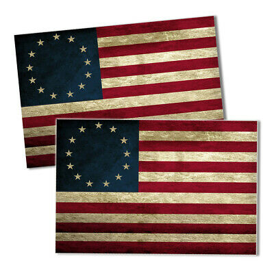Two Betsy Ross 13 Stars Red White Blue First American Flag 4x6 Inch Decals