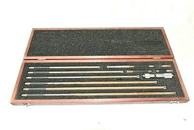 Starrett 823M Inside Micrometer Set 50mm-450mm with Wooden Case #C