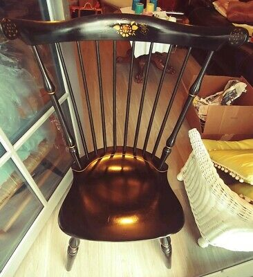 Nichols & Stone Windsor Style Fan Back Decorated Side Chair Excellent Cond