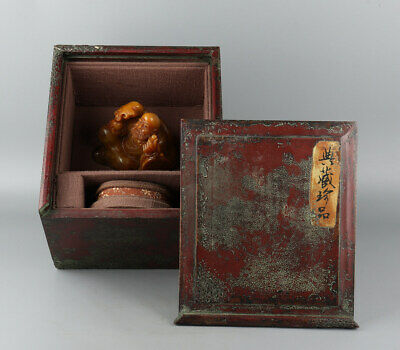 Chinese Exquisite Hand carved Buddha Carving Shoushan Stone statue with Box