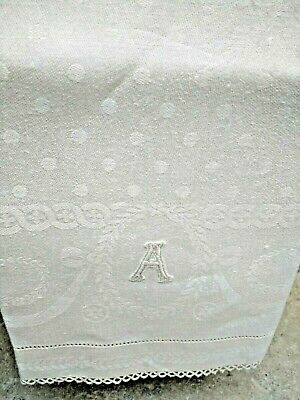 """Antique Damask Monogram """"A"""" Guest Towel Tatted Edges - Great Bridal Gift"""