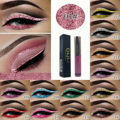 16 Colors Shimmer Eyeshadow Glitter Liquid Pencil Eyeliner Metallic Cosmetic